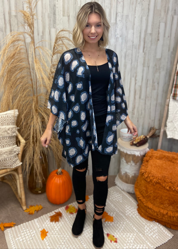 A Little Chilly Black Animal Print Kimono-Shop-Womens-Boutique-Clothing