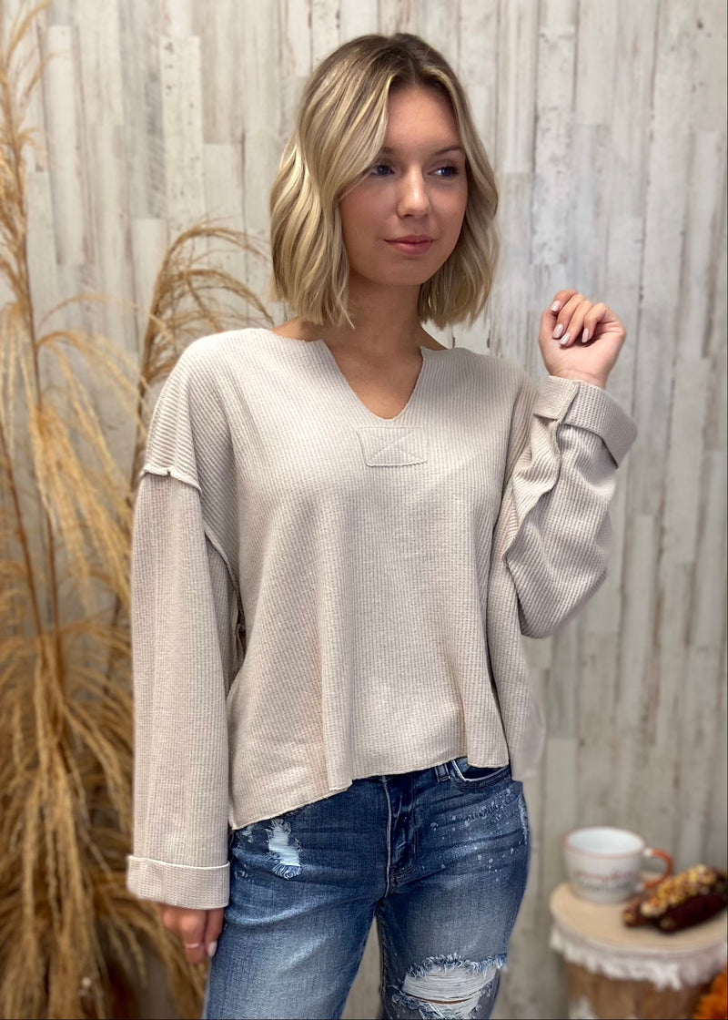 Cabin Bound Grey V-Neck Top-Shop-Womens-Boutique-Clothing