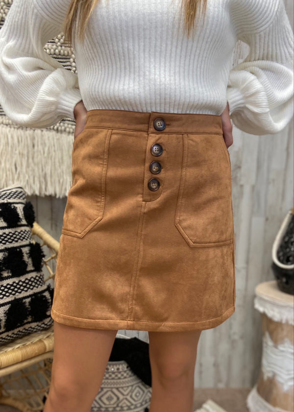 Cinnamon And Spice Camel Suede Skirt-Shop-Womens-Boutique-Clothing