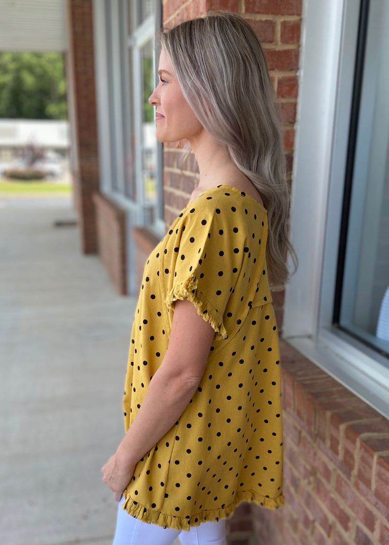 Make My Way Yellow Polka Dot Top-Shop-Womens-Boutique-Clothing