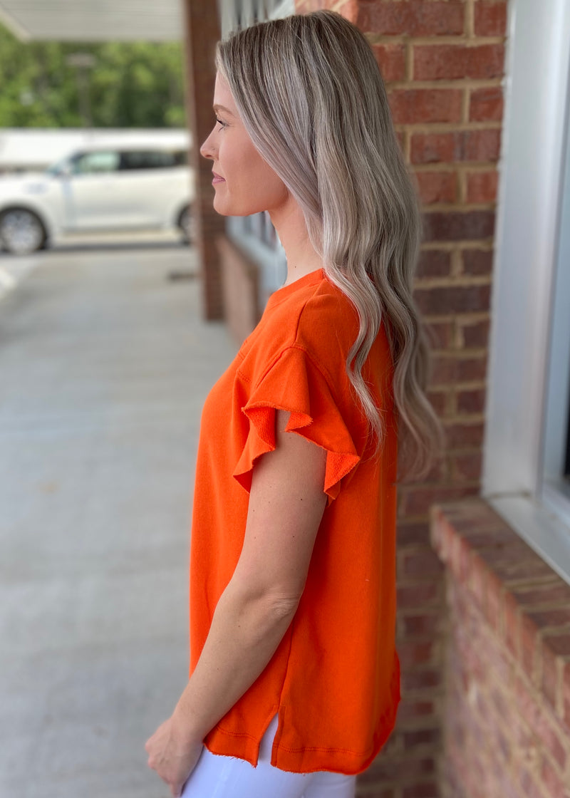 Letting Loose Orange Ruffle Top-Shop-Womens-Boutique-Clothing