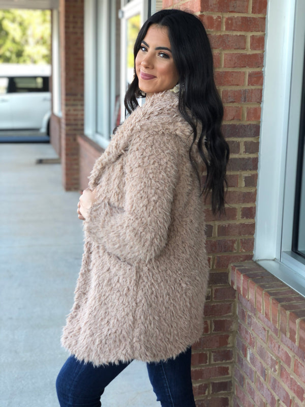 See Me Now Mocha Sherpa Fur Hooded Coat