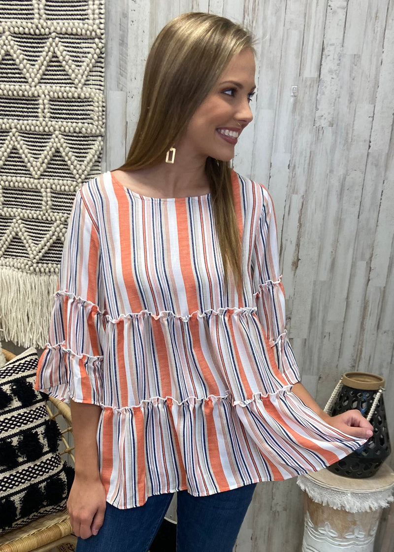 Market Stroll Orange Striped Top-Shop-Womens-Boutique-Clothing