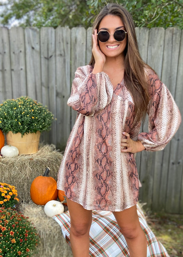 Crushing on Fall Brown Snakeprint Dress-Shop-Womens-Boutique-Clothing