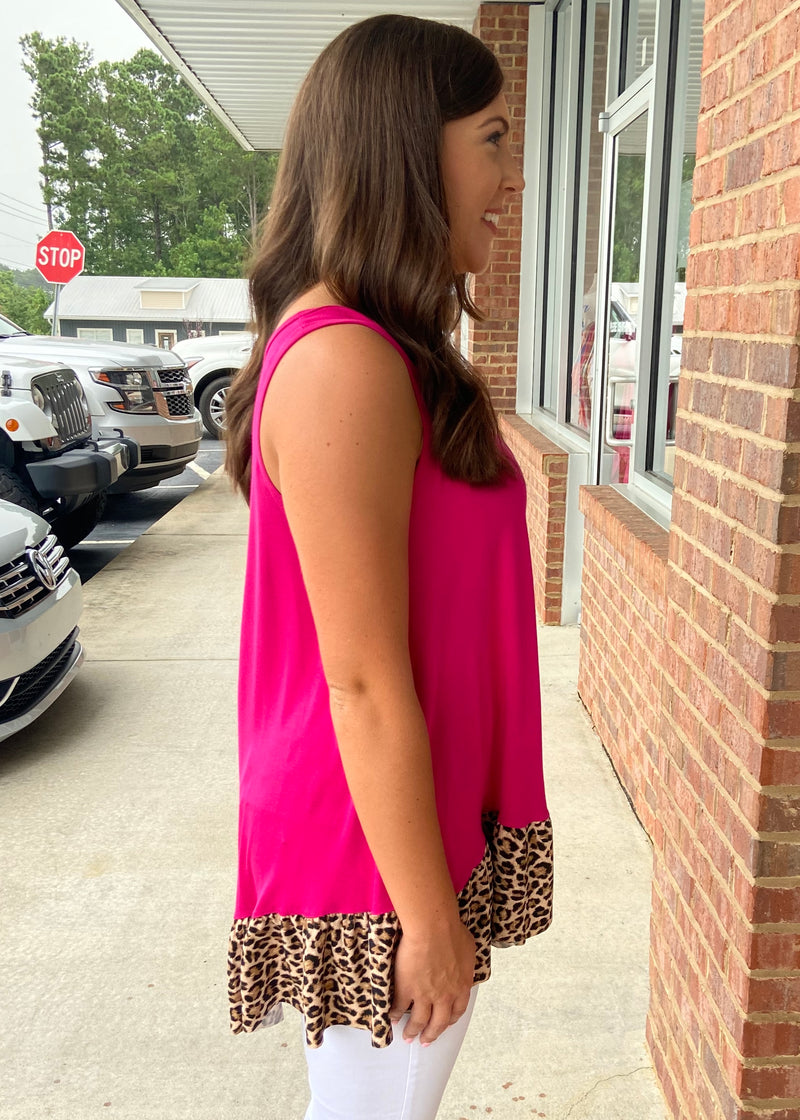 Forever Wild Fuchsia Animal Print Ruffle Tank Top-Shop-Womens-Boutique-Clothing