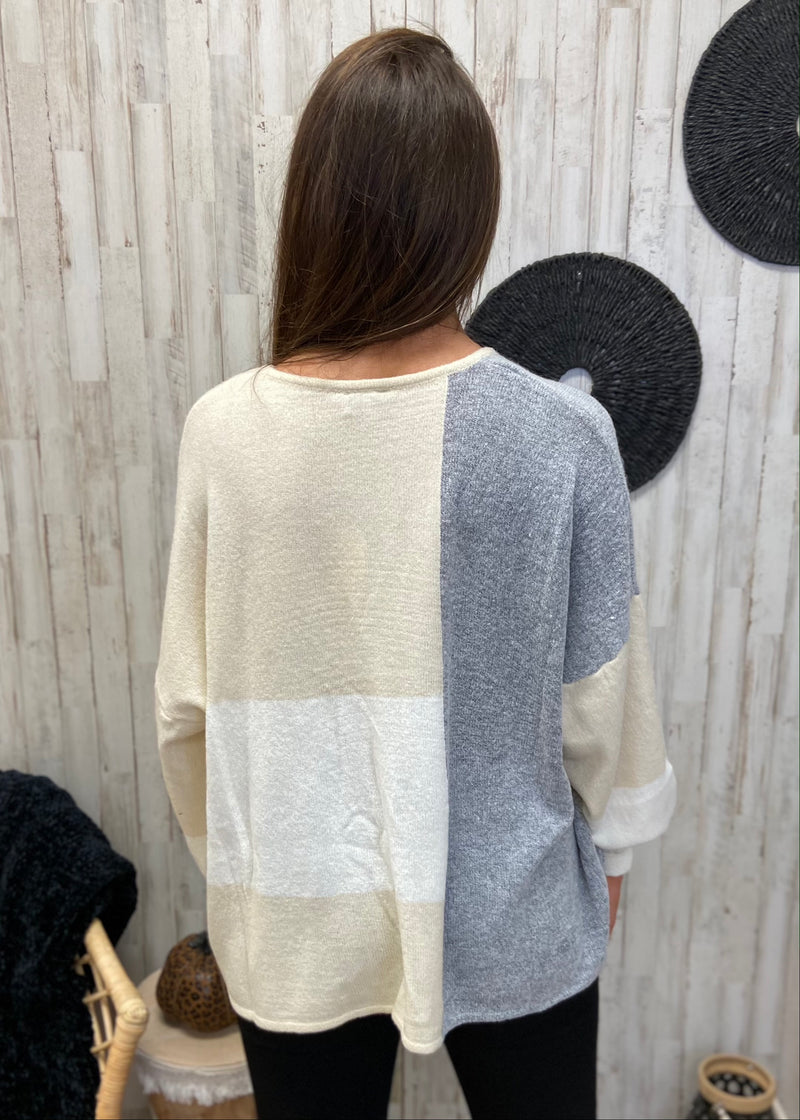 Crisp Evening Grey Colorblock Sweater-Shop-Womens-Boutique-Clothing