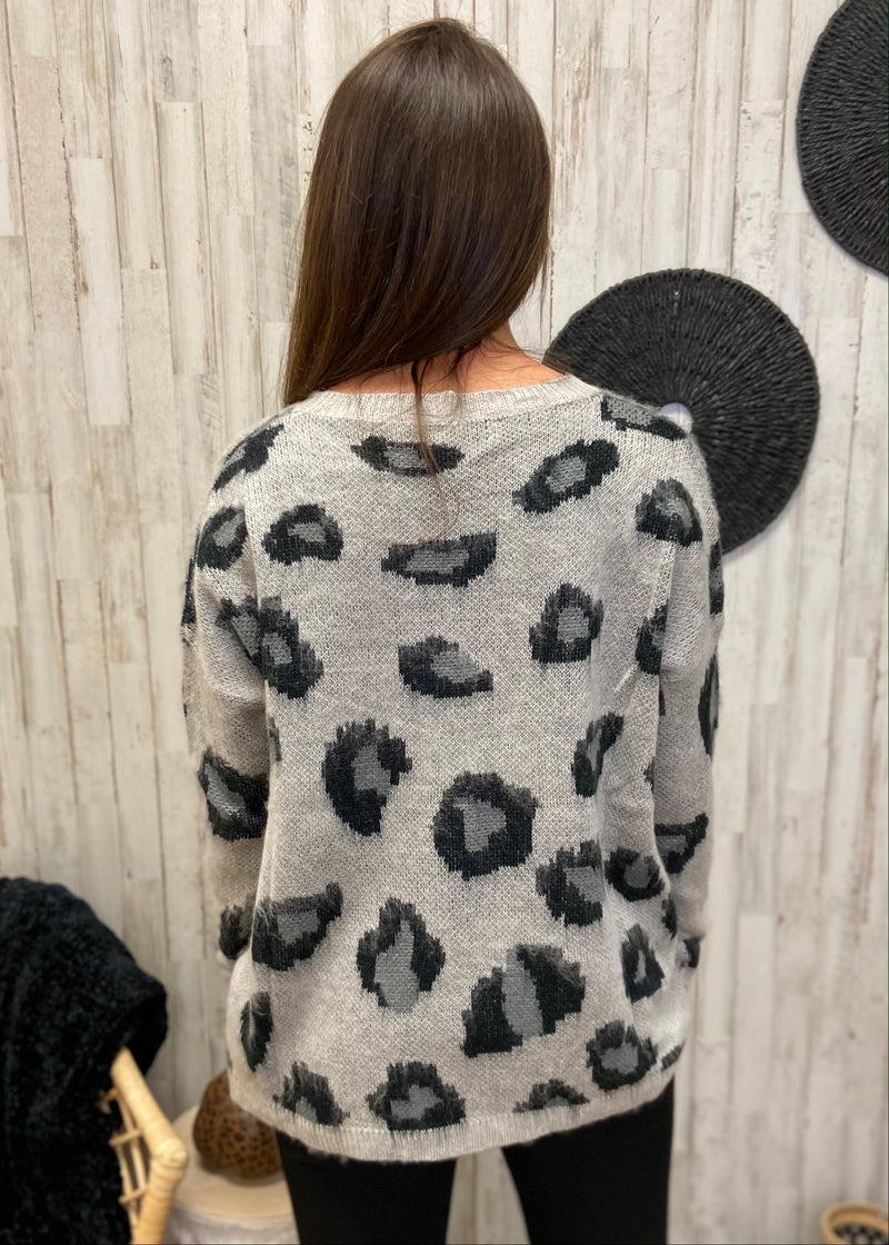 Cabin Cozy Grey Leopard Sweater-One Size-Shop-Womens-Boutique-Clothing