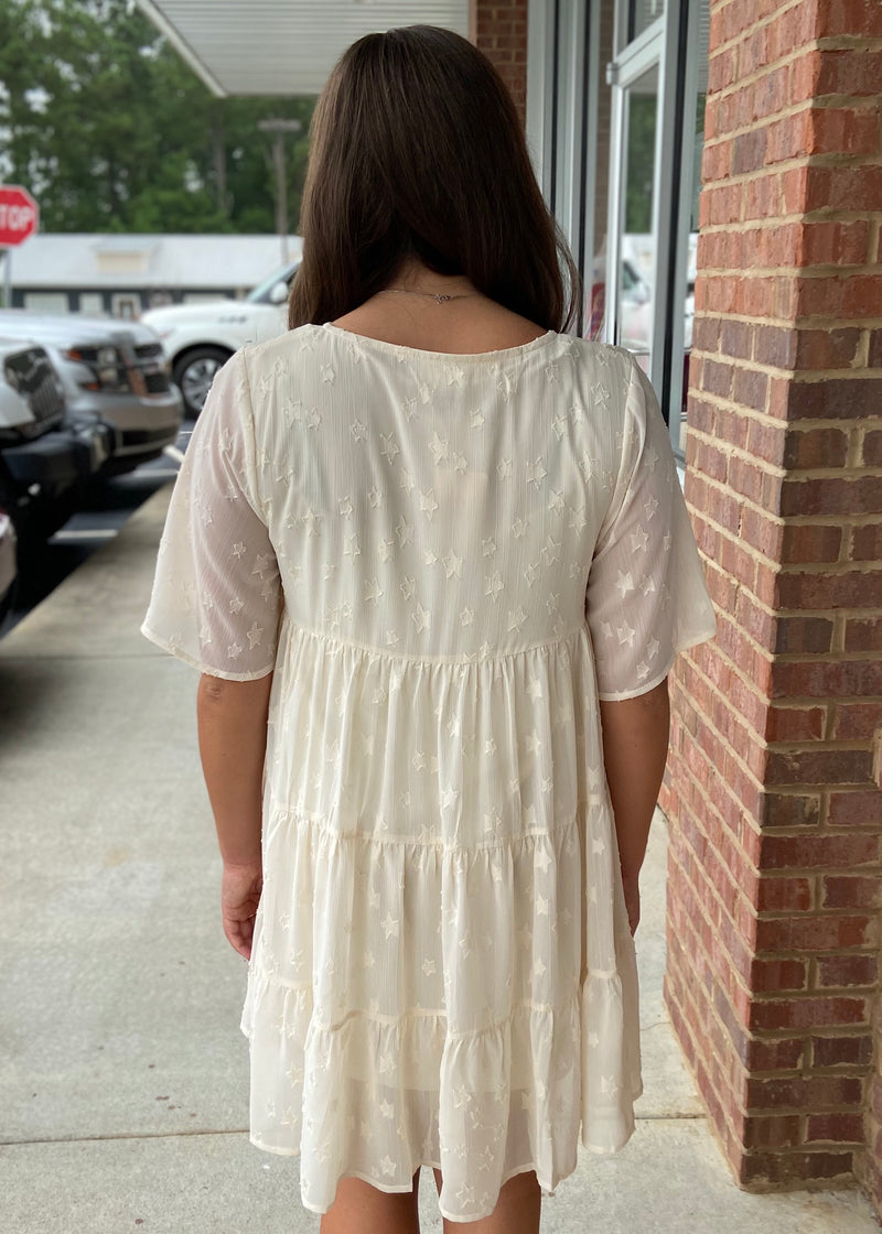 Catching The Stars Cream Dress-Shop-Womens-Boutique-Clothing