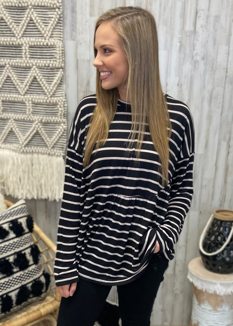 Twilight Memories Black Stripe Top-Shop-Womens-Boutique-Clothing