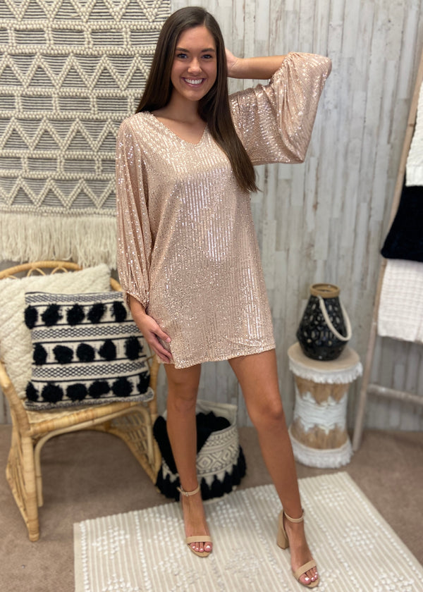 New Year's Eve Gold Sequin Dress-Shop-Womens-Boutique-Clothing