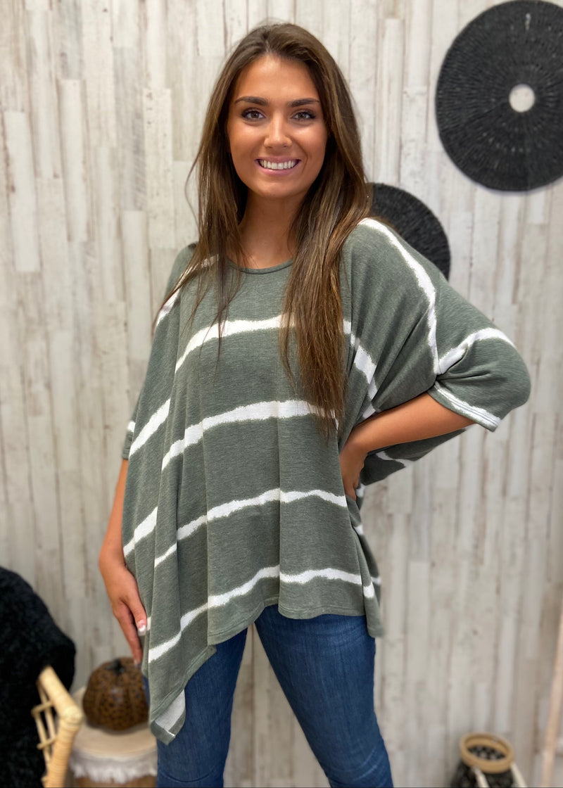 Tribeca Treat Olive Stripe Top-Shop-Womens-Boutique-Clothing