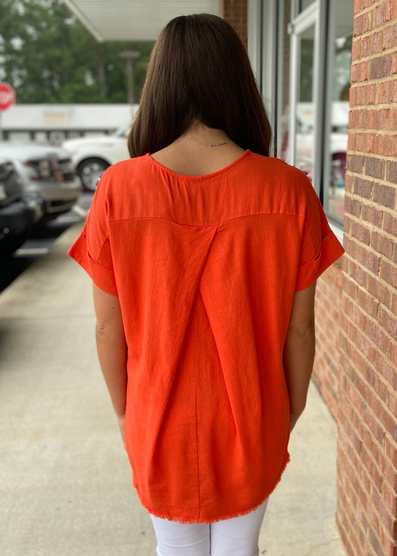 Get Noticed Orange Linen Top-Shop-Womens-Boutique-Clothing