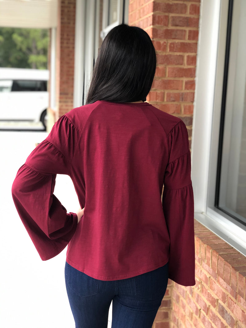 Wine Bell Sleeve Top-Shop-Womens-Boutique-Clothing
