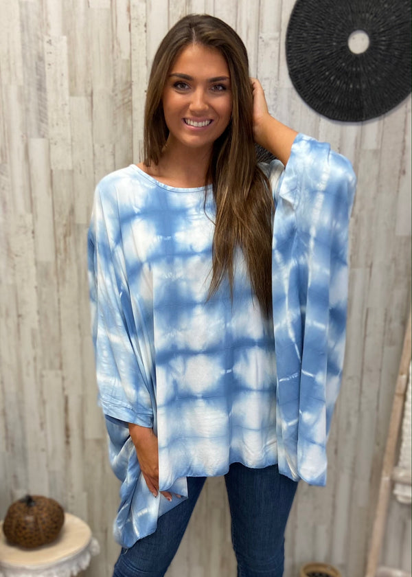 Whimsical Wish Blue Tie Dye Top-Shop-Womens-Boutique-Clothing