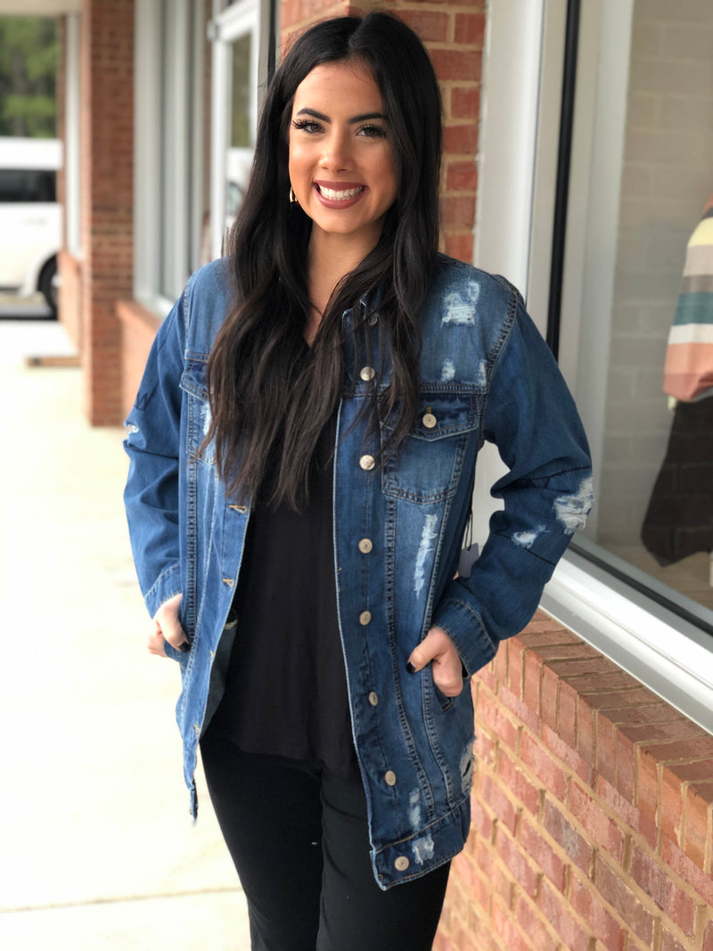 Medium Distressed Oversized Denim Jacket-Shop-Womens-Boutique-Clothing
