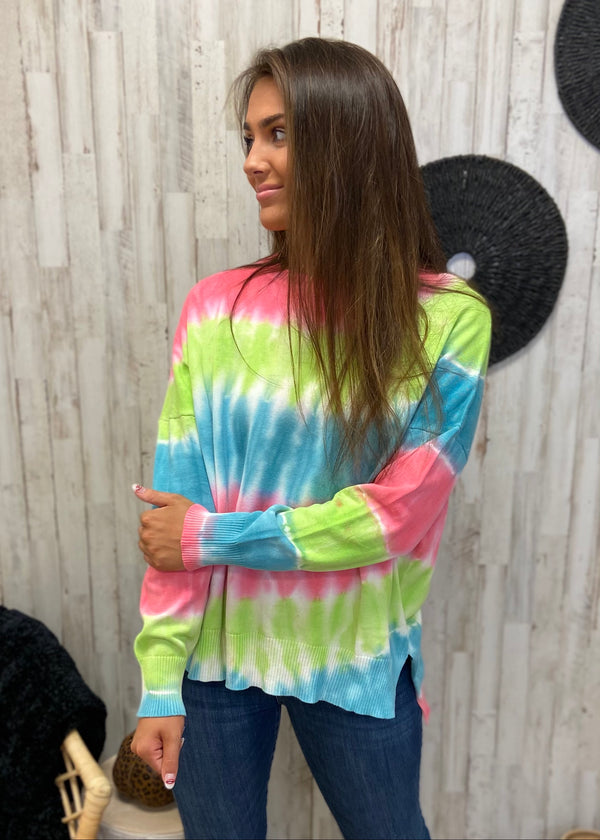 Morning Mist Rainbow Tie Dye Sweater-Shop-Womens-Boutique-Clothing