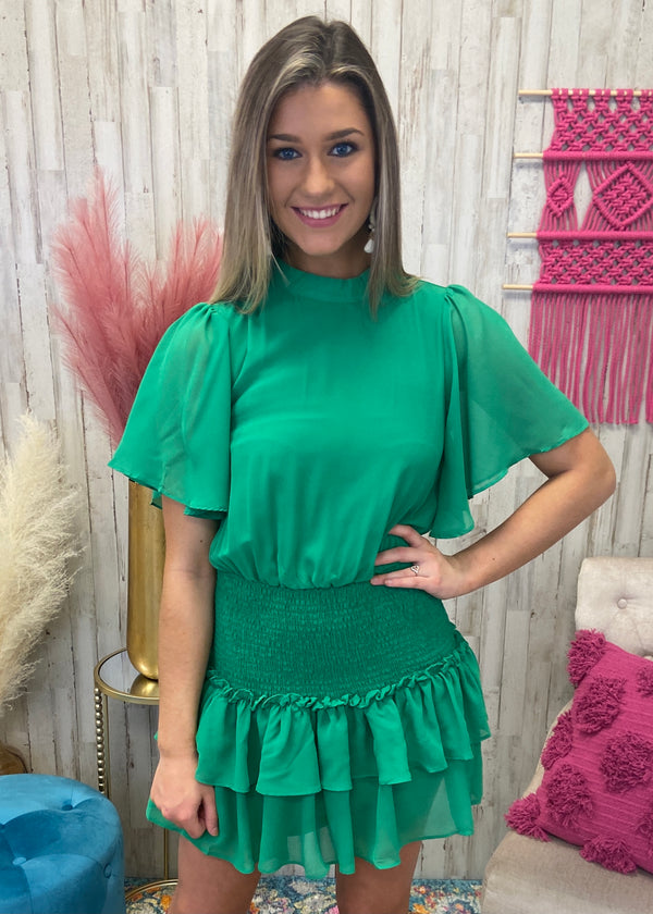 Give A Twirl Kelly Green Smocked Dress-Shop-Womens-Boutique-Clothing