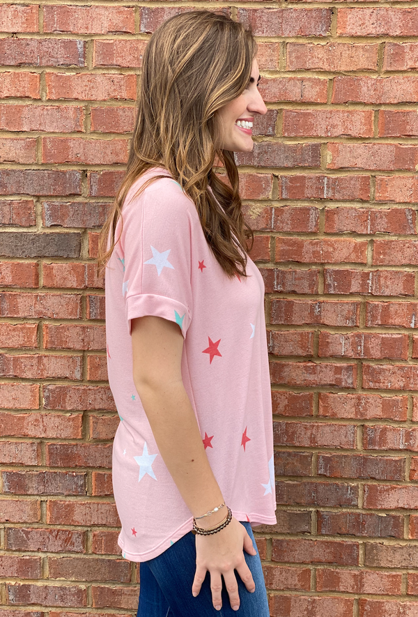 Want Your Love Pink With Mint Star Print Top-Shop-Womens-Boutique-Clothing