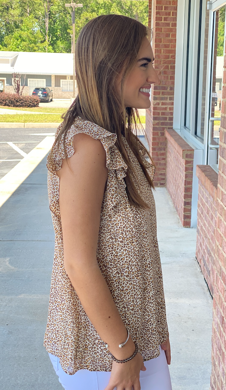 No Other Way Taupe Mix Leopard Keyhole Top-Shop-Womens-Boutique-Clothing