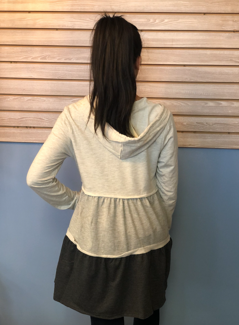 Light Gray Ruffle Zip Up Jacket-Shop-Womens-Boutique-Clothing