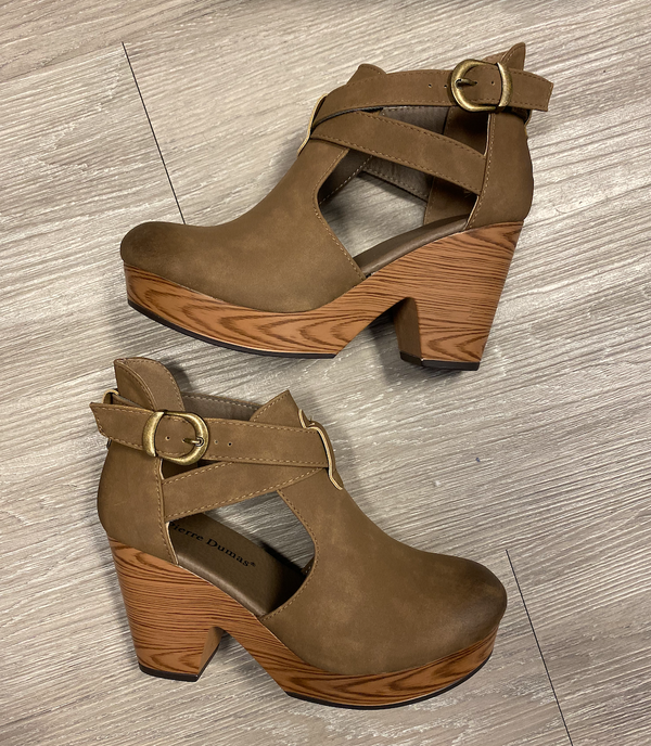Zara Taupe Suede Clogs-Shop-Womens-Boutique-Clothing