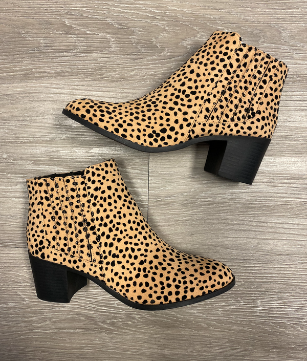 Made To Love Tan/Black Leopard Suede Bootie