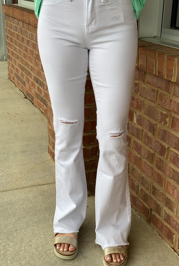 Spring Fling White Ripped Flares-Shop-Womens-Boutique-Clothing