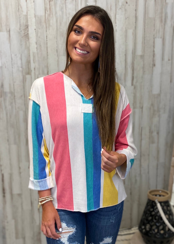 OBX Style Multicolor Striped Top-Shop-Womens-Boutique-Clothing