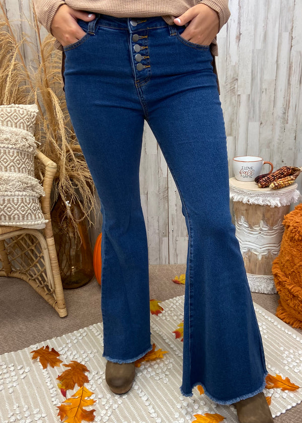 Into It Denim Button Bell Bottoms-Shop-Womens-Boutique-Clothing