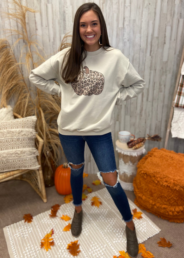 Fall Forever Tan Leopard Pumpkin Sweatshirt