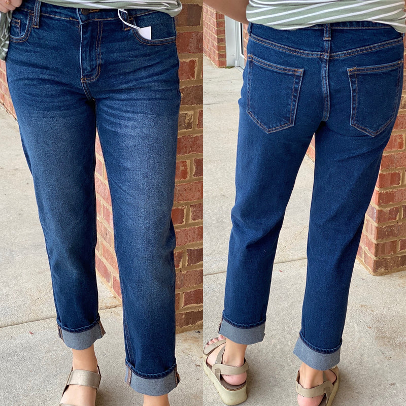 Dark Blue Rolled Cuff Slouchy Boyfriend Jeans-Shop-Womens-Boutique-Clothing