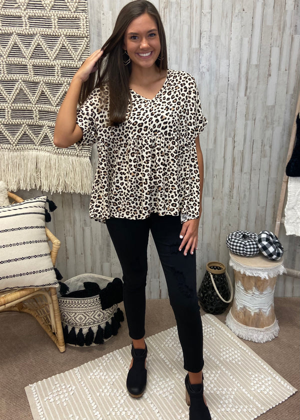 Warm Smiles Leopard Babydoll Top