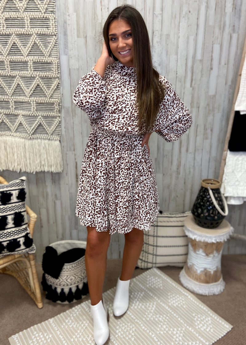 Chase The Idea Taupe Animal Print Dress-Shop-Womens-Boutique-Clothing