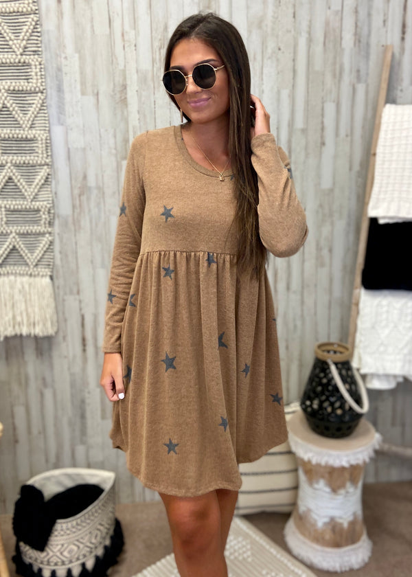 Wish Upon A Star Camel Babydoll Dress-Shop-Womens-Boutique-Clothing