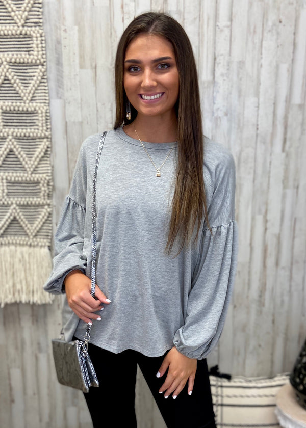 Fall's Lover Grey Balloon Sleeve Top-Shop-Womens-Boutique-Clothing
