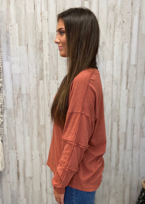 Autumn Glow Rust Raglan Sleeve Top-Shop-Womens-Boutique-Clothing