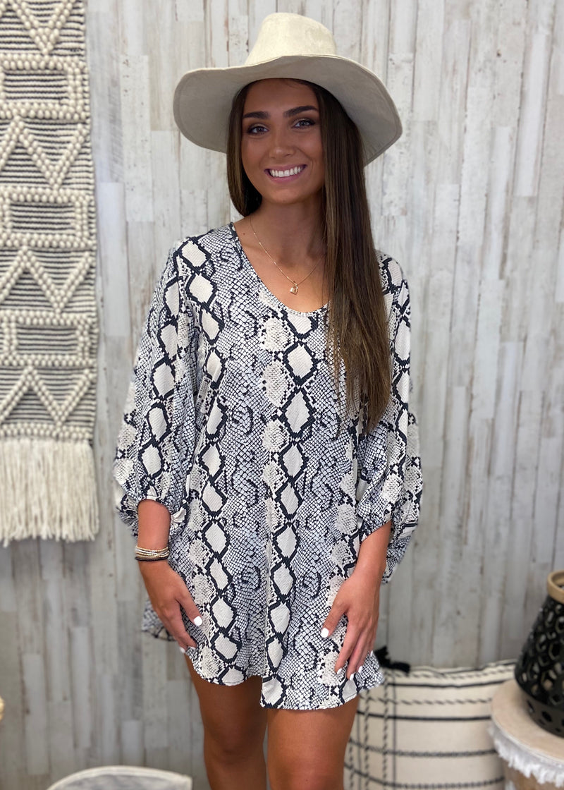 Be Exotic Grey Snakeprint Dress-Shop-Womens-Boutique-Clothing