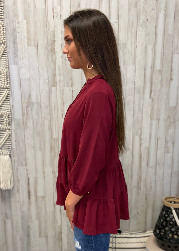 Much More To Love Burgundy Tiered Top-Shop-Womens-Boutique-Clothing