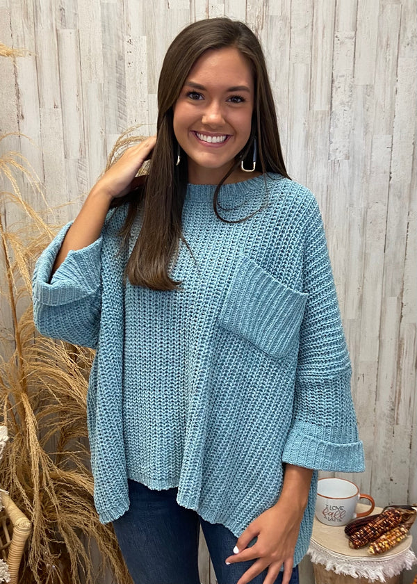 Fall Session Seafoam Chenille Sweater-One Size-Shop-Womens-Boutique-Clothing