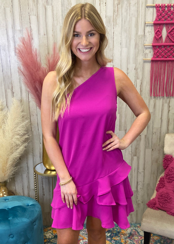 Worth Everything Magenta Asymmetrical Dress-Shop-Womens-Boutique-Clothing