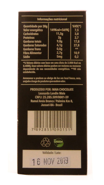 Barrinha de Chocolate Maia, com 70% de cacau (30g)