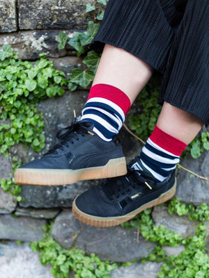 Stripey Organic Calf-length Kind Socks