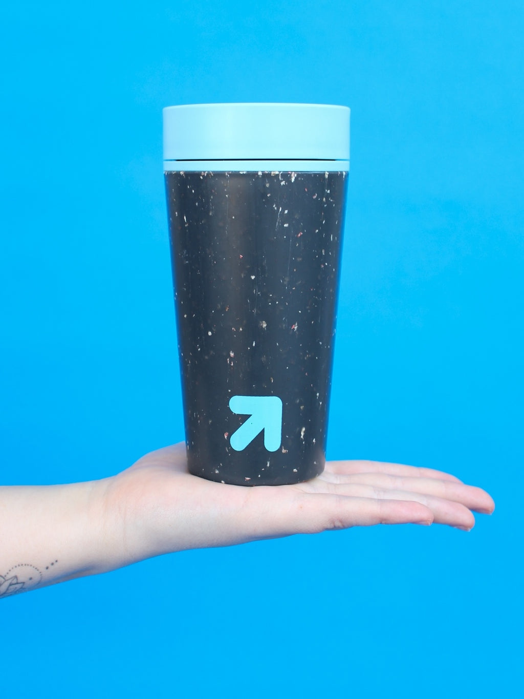 Reusable Black & Teal 12oz Coffee rCUP