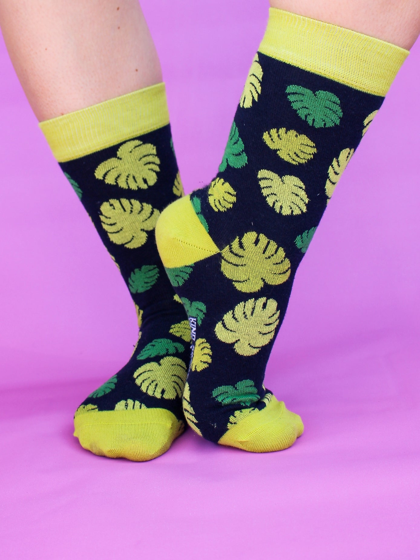 An individual wearing the black organic kind socks with a monstera leaf print and lime green trim standing in front of a bright pink backdrop.