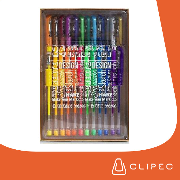 Count Gel Pen Metallics & Neon - SET 24 colors