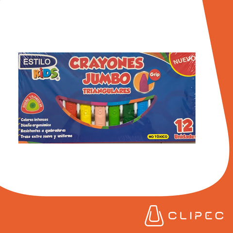 Crayones ESTILO Kids Jumbo Grip Triangular x 12