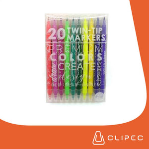 20 COUNT WASHABLE TWIN TIP MARKERS