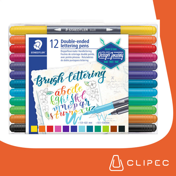 DUAL BRUSH LETTERING STAEDTLER - SET 12 COLORES