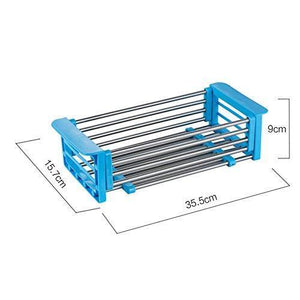 New yan junau kitchen racks stainless steel retractable sink drain rack dish rack kitchen supplies color blue
