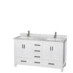 Heavy duty wyndham collection sheffield 60 inch double bathroom vanity in white white carrera marble countertop undermount square sinks and 24 inch mirrors